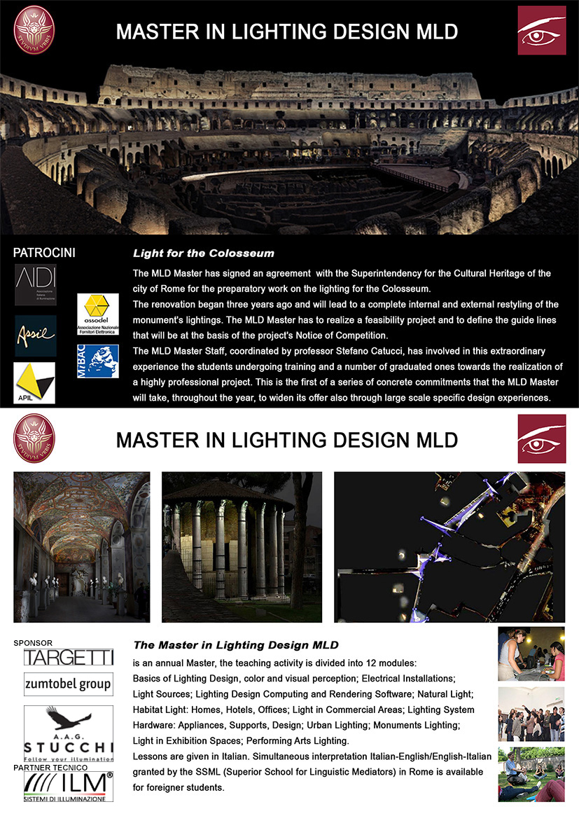Calendario Accademico Sapienza 2020.Master Lighting Design